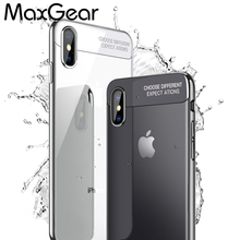 MaxGear For iPhone X Clear Case Luxury Plating Silicone Cover For iPhoneX 10 Gilded TPU Frame Transparent Back(China)
