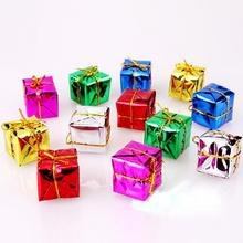 12 pcs/lot Christmas Ornament colorful Mini Gift box Christmas Tree pendant New Year ornaments Decorations 2.5cm