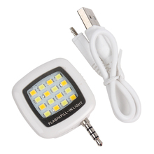 16 Leds 3.5mm Adjustable Brightness For iPhone IOS Android LED Flash Fill Light For Smartphone Cell Phone Camera Portable #KF