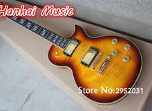 Hot Sale Custom Electric Guitar,Sunburst Body,Flame Maple Veneer Front and Back,Side,Gold Hardware,Double Binding,can be Custom
