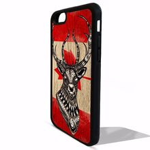 Deer stag head canadian flag of canada fashion cover case for iphone 4 4s 5 5s 5c SE 6 6s 6 Plus 6S plus 7 7plus #FE103