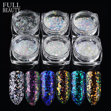 Full Beauty 6pcs Christmas Glitter Powder Snowflakes Broken Sequins 3D Charming Acrylic Gel Transparent Slice Nail Art CHSH01-06(China)