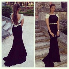 Hot Sale Sexy Long Evening Dress Inexpensive Beaded Cap Sleeves Crystal Belt Sweep Train Luxury Party Dress H013