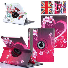 360 Degree Rotating Flower Butterfly Flip Stand PU Leather Case Cover For Apple iPad 9.7 2017 2 3 4 Air Air2 iPad Mini 1 2 3 4