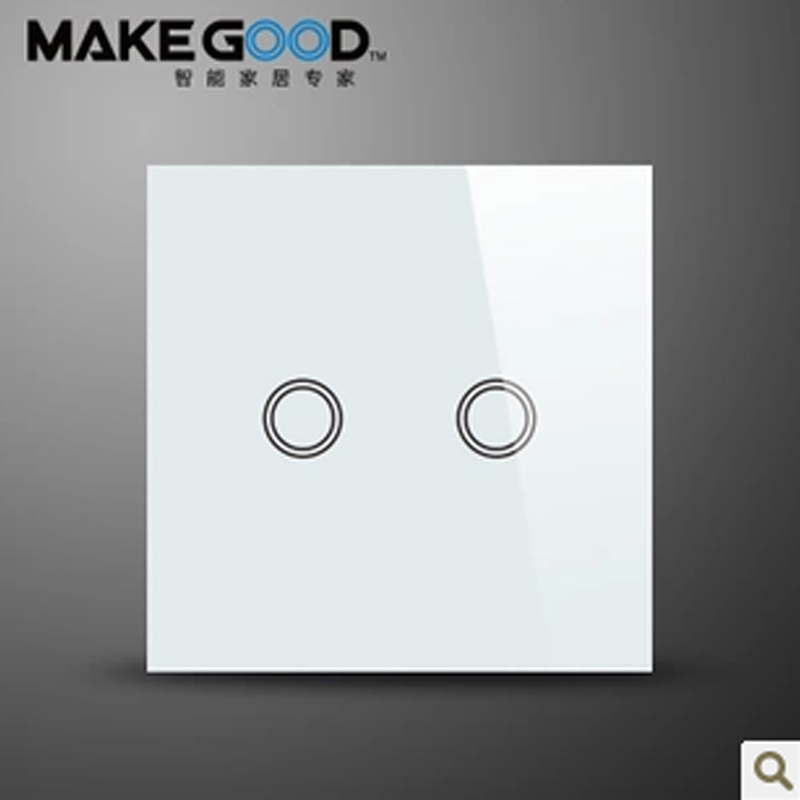 MakeGood New Design Glass Panel Touch Light Switch / Wall Switches 2 Gang 1 Way with blue LED indicator for EU Standard<br><br>Aliexpress