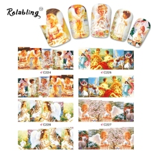 2017 New Arrival Cute Girl Angels Series Water Transfer Nail Sticker Painting Paper Decorate Fingernails Nail Decoration Set(China)