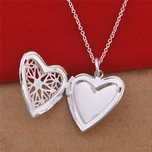 925 Sterling Silver Necklace Floating Lockets Necklaces &amp Pendants Heart Shape Star Pattern Living Locket Friendship Gifts