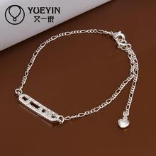 Fashion silver plated Jewerly Anklets for Women Bridal Wedding jewelry Wholesale Cheap ankle bracelets(China)