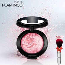 Beauty Face Makeup Brand Flamingo Blusher with brush mirror cheek silky felt blusher 3 colors Baked Blush Bronzer Blusher 3010x(China)