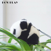 HowPlay Giant Panda Plush Keychains cute Panda bag Accessories Animal plush toys lovely gift Australian imported mink hair(China)