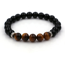 Natural Stone Black Lava Tiger Eye Beads Bracelet Men Silver Plated Lion Head Charm Bracelet Energy Yoga Mala Bracelets