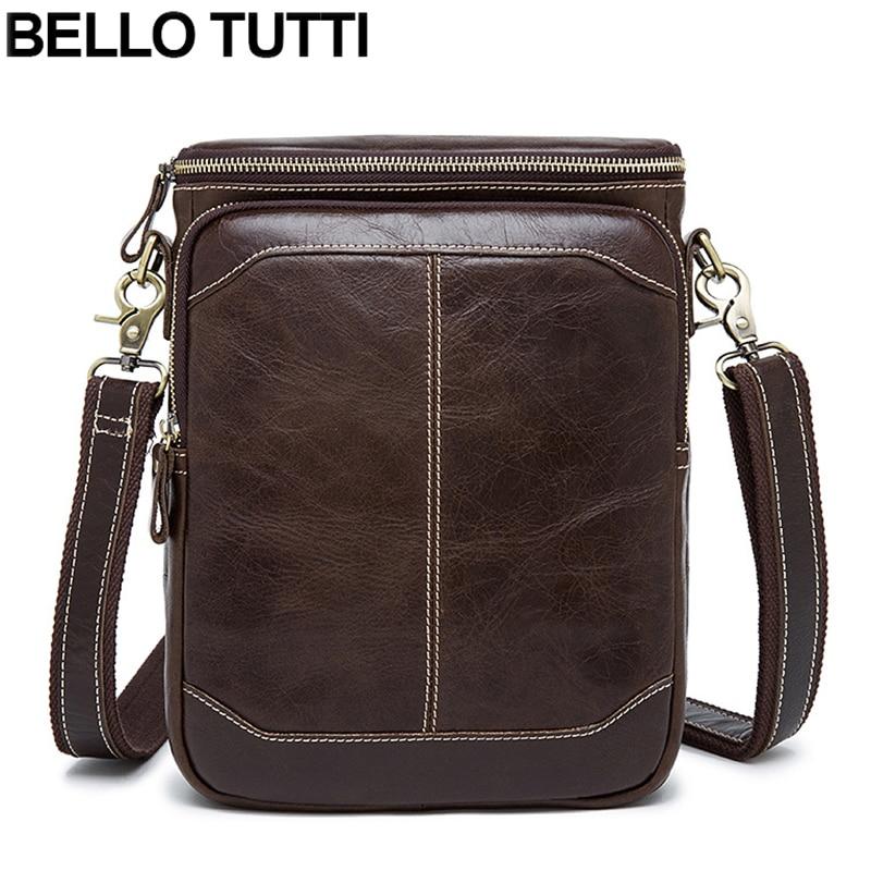 BELLO TUTTI Genuine Leather Men Bags Male Cowhide Zipper Bag Shoulder Crossbody Bags Messenger Small Men Leather For iPad Bag<br>