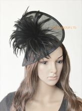 NEW 20 colors Black sinamay feather fascinator hat  for wedding,ascot races,kentucky derby,melbourne cup,party.