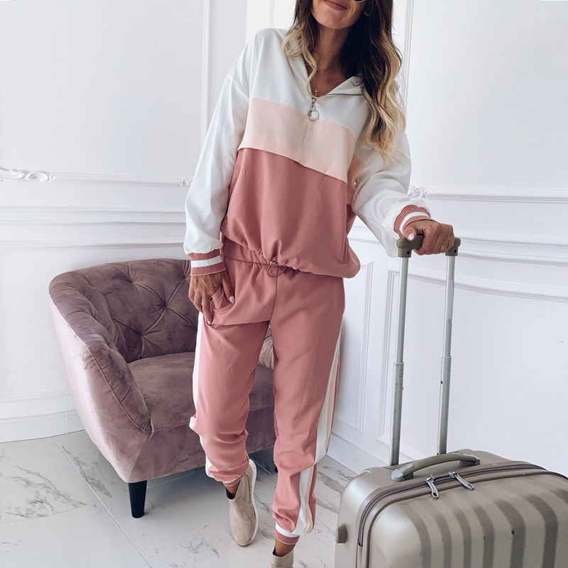 Patchwork Tracksuit Outfits-Sets Sweatshirt Pencil-Pants Zipper Hoodies Two-Piece Striped title=