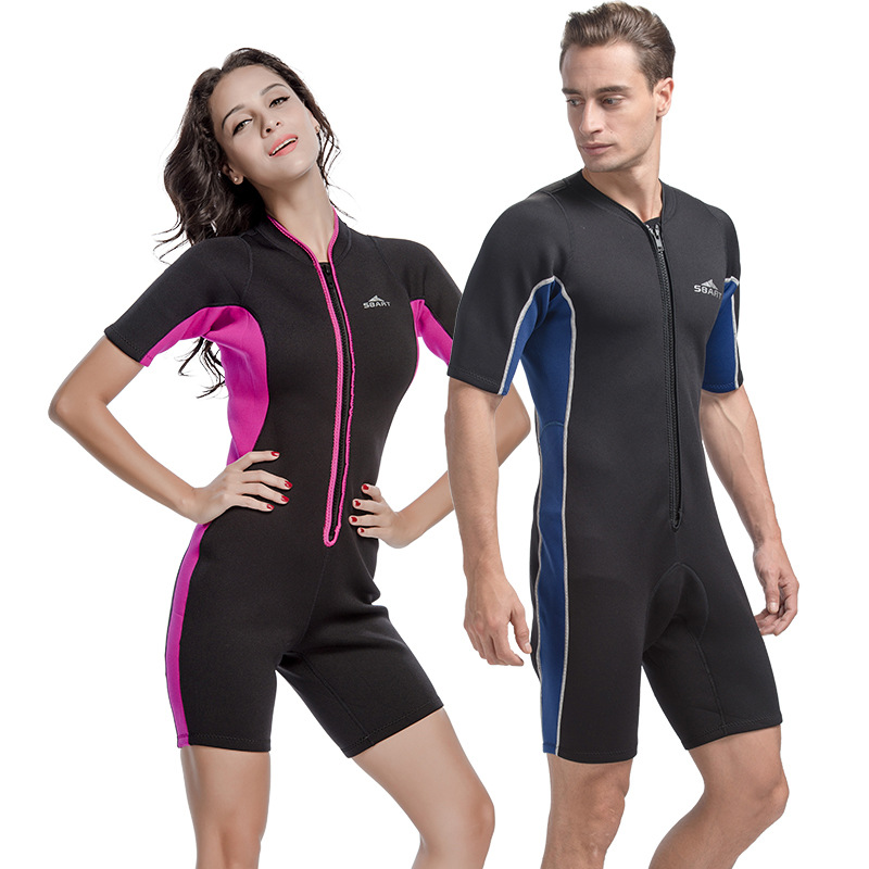 One-piece Men Women 2mm  Shorty Wetsuit  Neoprene Jump Suit Couples Design Lovers Valentines Day Gift 2017 Adult Wetsuits <br>