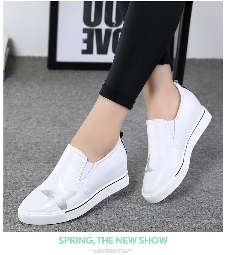 Shuxue Women High Top Sneakers Autumn  Students Breathable Leather Wedges Shoes Height Increasing Slip On Ladies Walking Shoes