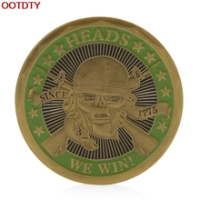 Collectible Coin Heads We Win Tails You Lose Skull Gold Plated Commemorative Challenge Coins Art