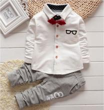 Fashion Korean Baby Boy girls Clothing Sets children Bow tie shirts glasses cartoon+ pants kids cotton cardigan two piece suit(China)