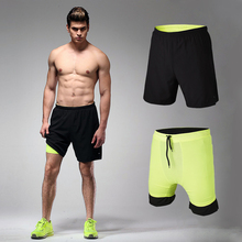 "Mens 2 in 1 Running Shorts workout GYM fitness Shorts 7"" 2-in-1 Training Shorts with Back Zip Pocket"