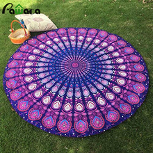 Fashion Polyester Printed Round Beach Towel Mat Yoga Cushion Beach Towel Family Picnic Mat Outside Multi-function Summer Towels