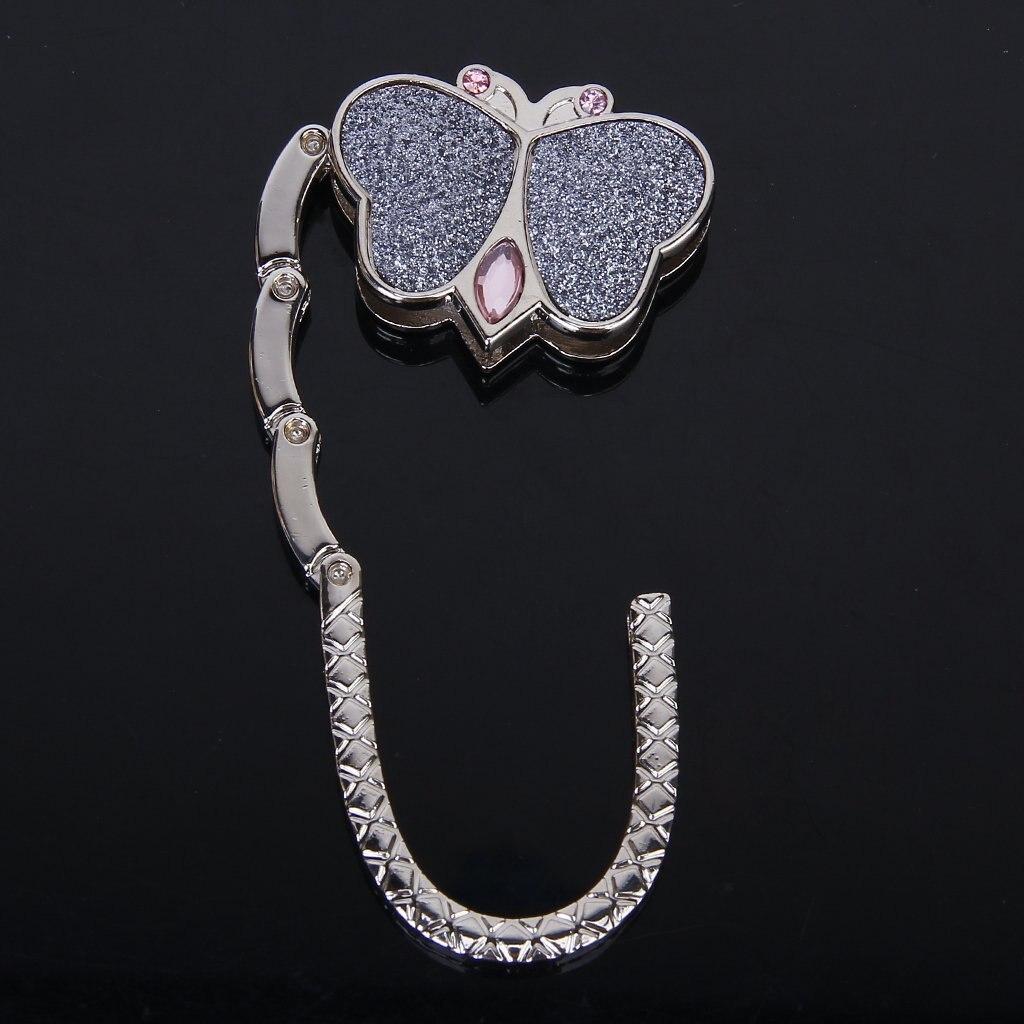 Butterfly Folding Hanger Holder Hook Handbag Bag Rhinestone Robe Hooks Home Improvement silver