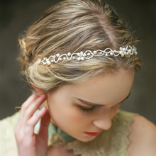 Jeweled headbands hair accessories wedding bridal bride hair ornaments fresh water pearl crystal hair jewellery(China)