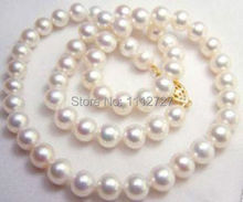 "Beautiful!new 8-9MM white Akoya Cultured Shell Pearl Necklace Beads Jewelry Natural Stone 18"" AA+ BV398 Wholesale Price"