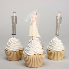 24pcs/Set Bride and Groom Cupcake Toppers Picks Wedding Cake Accessory Wedding Party Decorations Party Supplies
