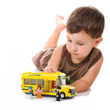 Legoelieds Compatible School Bus Building Blocks Toys(China)