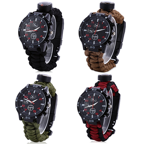 Multifuctional Survival Bracelet Thermometer Flint Fire Starter Gear Watch<br><br>Aliexpress