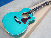 Factory Custom 41'' 20 frets 614 cutaway body transparent blue Acoustic Guitar with solid top,golden tuners,can be customized