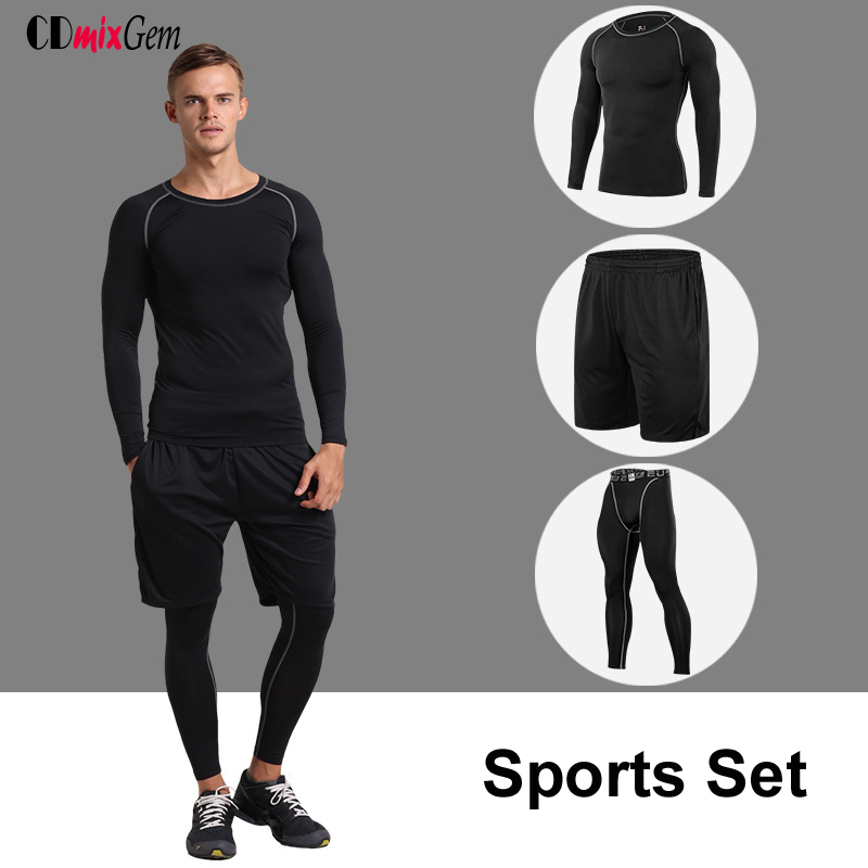3pcs=1Set Sports Running Set Fitness suit mens long sleeved running tight training clothes fast dry Breathable gym suit autumn<br><br>Aliexpress