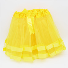 Girls tutu skirts baby ballerina skirt yellow childrens chiffon fluffy pettiskirts kids Hallowmas TZ0156