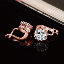 Buy X&P Crown Austrian Crystal Wedding Stud Earrings Rose Gold Color Fashion Brand Vintage CZ Crystal Jewelry Women Girl Gift for $1.41 in AliExpress store