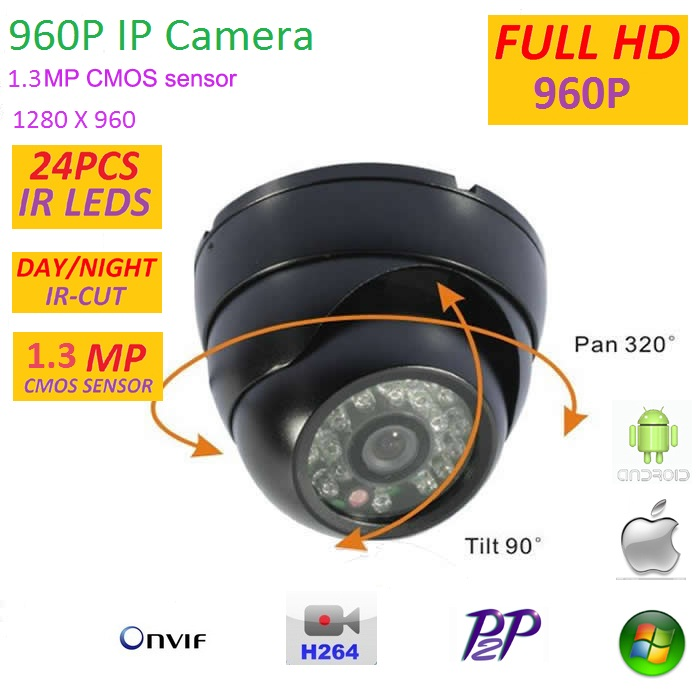 New type 1280*960P 1.3MP Mini Dome 960P IP Camera support ONVIF H.264 P2P Indoor IR CUT Night Vision Easy Plug and Play,<br>