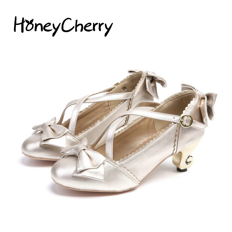 Round Cross Bow Shoes Cute Lolita Cosplay shoes Single Shoe High Heels Women Shoes pumps fashion <br>