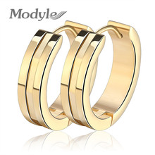 Modyle 2017 New Brand Gold Color Hoop Earrings Circle Fashion Stainless Steel Earrings for Women(China)