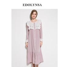 Nightgowns Sleepshirts 2018 Home Dress Lace Nightwear Women Button Sleepwear  Solid Sleep Lounge Sweet Nightgown Female  H431 61d0561df