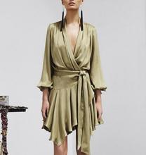 WishBop 2016 Runway Luxury V-neck Satin Silk Wrapped Asymmetrical Pleated DRESS With Belt SIX Colors In stock