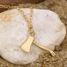 Gold axe brass axe pendant lumberjack hatchet tool hunter zombie warrior unisex gold filled chain modern jewelry hudson