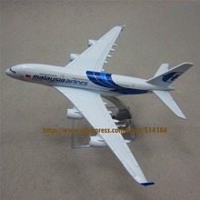 FANNIYA 16cm Alloy Metal Blue Air Air Malaysia Airlines Airbus 380 A380 Airways Plane Model Aircraft Airplane Model w Stand