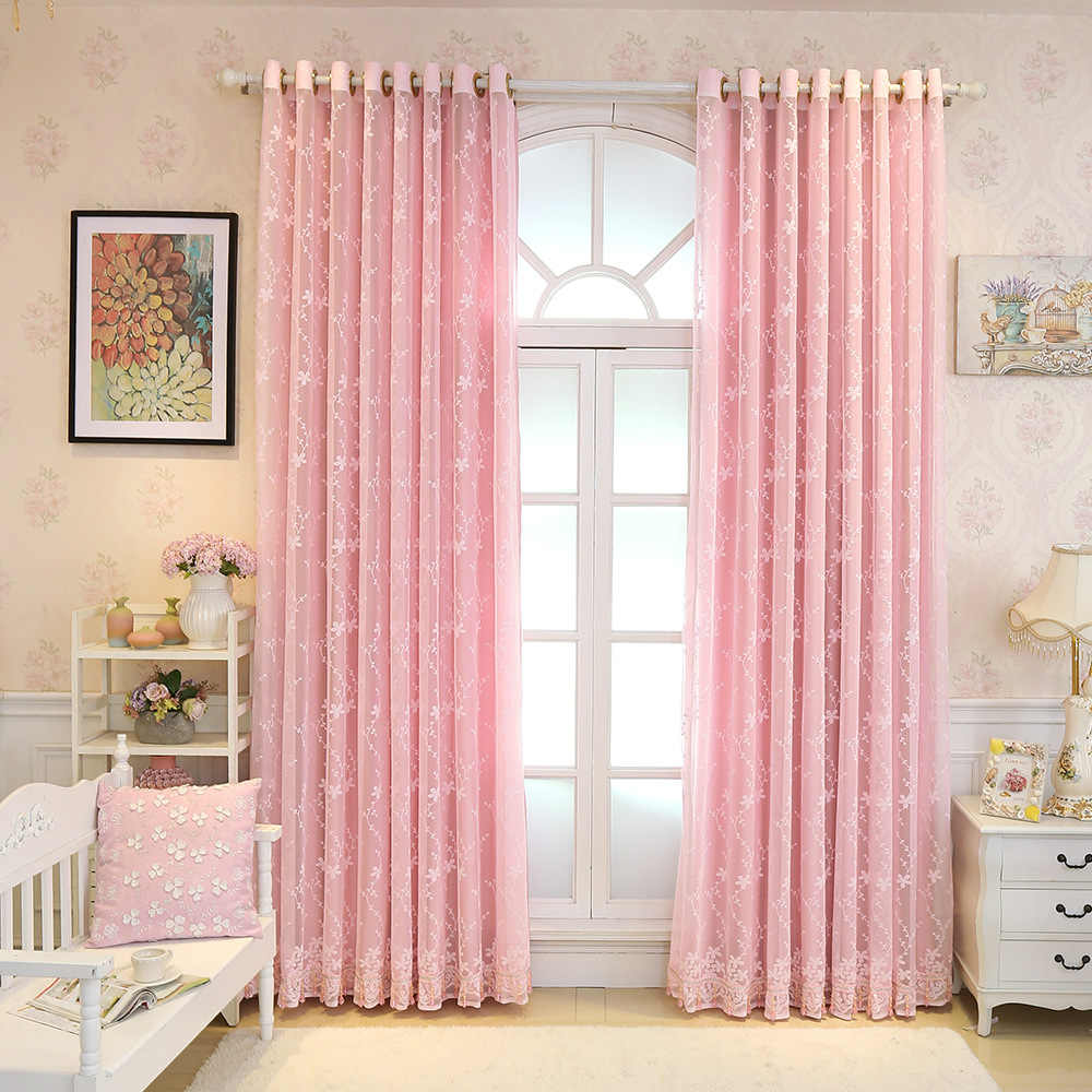 Curtains for Living Dining Room Bedroom New Curtains Pink Embroidered Curtain Fabric Shade Cloth Curtains