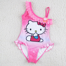 New Hello Kitty Girl's Swimsuit For Children Swimwear One Piece Swimming Suit Kids Brand Clothes Summer Beach Wear SW903-CGR1(China)