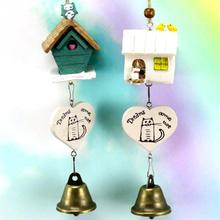 Cute Resin Japanese House-shaped Bird-shaped Small Bronze Bells Wall Hanging Wind Chimes Car Pendant Home Decor(China)