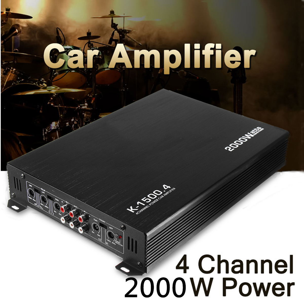 1pc Top Quality Cars Audio Subwoofer 4 Way Car Amplifier Channel 1600w Digital Bridgeable Pro Kit 2000 Watt Auto Power Stereo Amp Aluminum Dc 12v