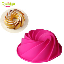 Delidge 1pc Large Spiral Silicone Cake Mold 3D Sugarcraft Chocolate Soap Bread Fondant Cake Pan Mold DIY Baking Tools