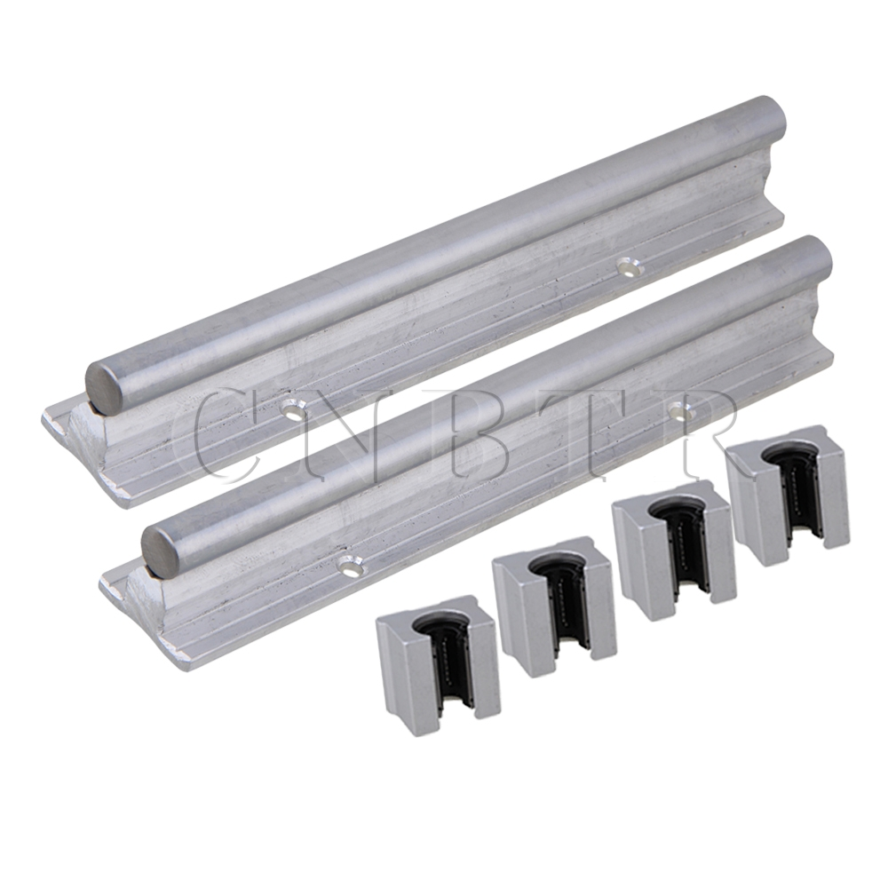 6x Silver CNBTR12mm Shaft 200mm Linear Bearing Rail w/ Open Linear Motion Block<br>