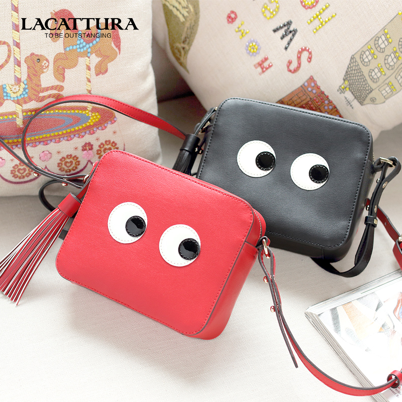 A1304 LACATTURA brands women Messenger bags small Shoulder bag cute and Eye pattern leather for women bags tassel crossbody bags<br><br>Aliexpress