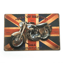 HZ037 Best Of British Vintage metal sign retro metal painting poster plaque 20*30cm motorcycle wall sticker home decor cafe bar
