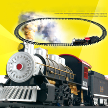 1 Set DIY Classic Electric Train with Tracks Light Music Building Blocks Diecast Railroad Trains Model Toys for Children Gifts(China)